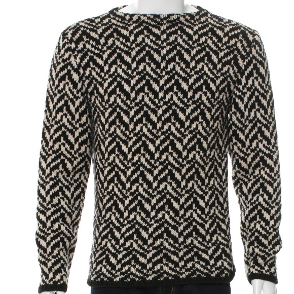 e8b0f7c85bba24 Gucci Sweaters | Chevron Knitted Black Off White Sweater | Poshmark